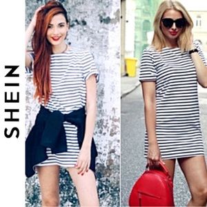 SHEIN Tee Shirt Mini Dress Blue Stripe size medium